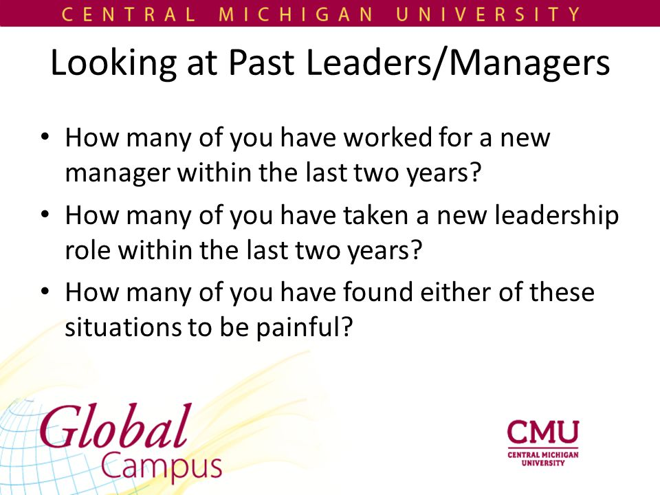 Looking at Past Leaders/Managers How many of you have worked for a new manager within the last two years.