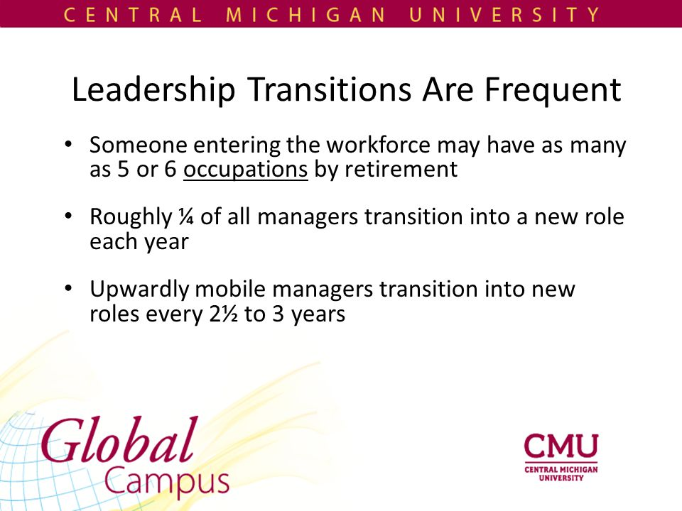 Leadership Transitions Are Frequent Someone entering the workforce may have as many as 5 or 6 occupations by retirement Roughly ¼ of all managers transition into a new role each year Upwardly mobile managers transition into new roles every 2½ to 3 years