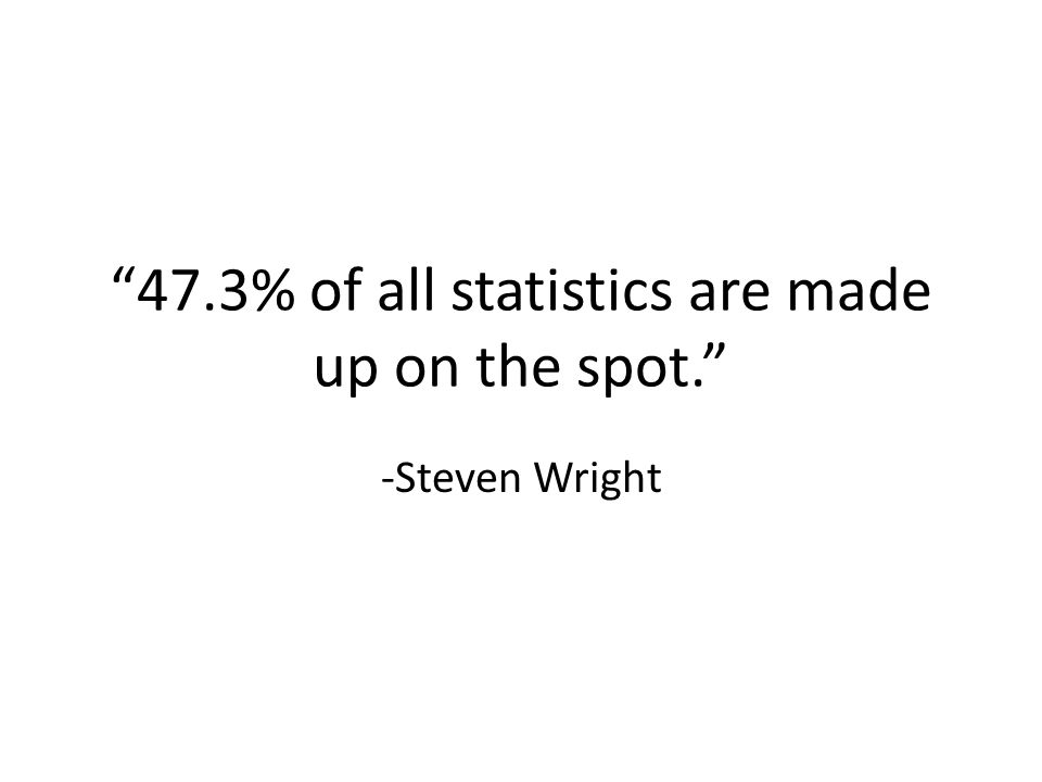 47.3% of all statistics are made up on the spot. -Steven Wright
