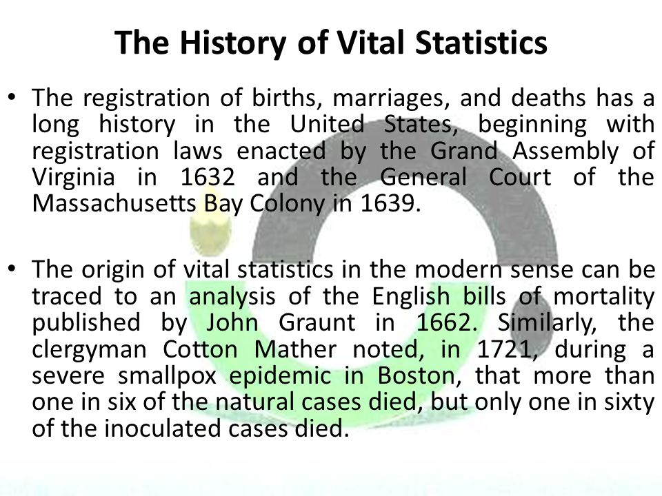 The History of Vital Statistics The registration of births, marriages, and deaths has a long history in the United States, beginning with registration