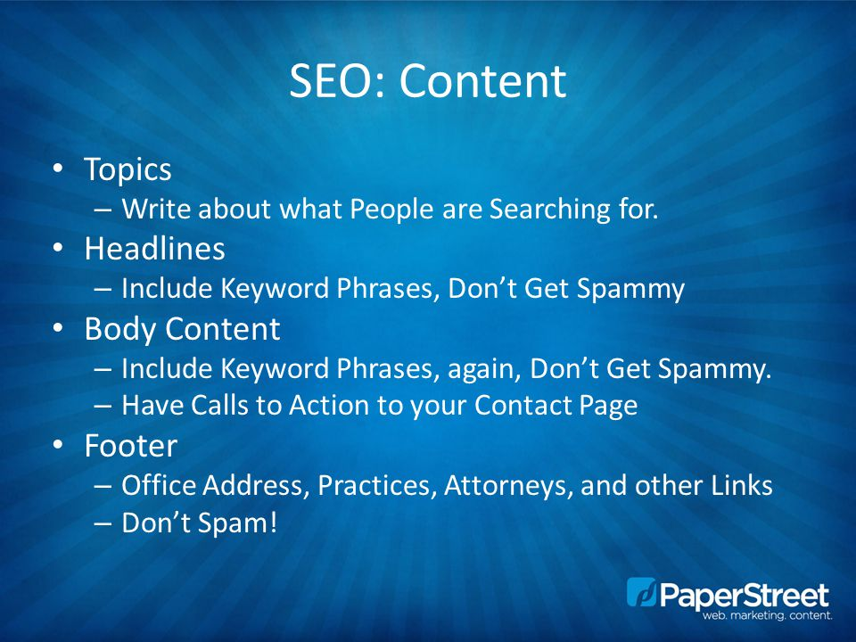 SEO: Content Topics – Write about what People are Searching for.