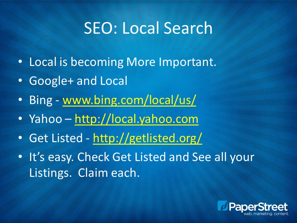 SEO: Local Search Local is becoming More Important.