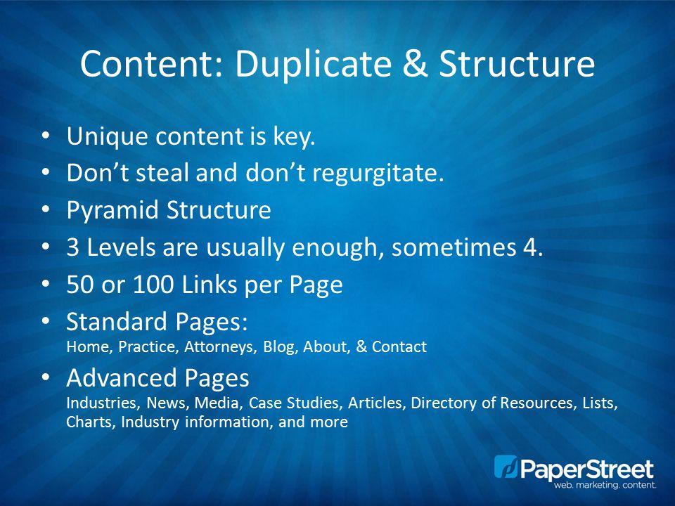 Content: Duplicate & Structure Unique content is key.