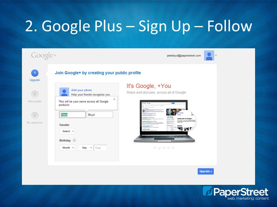2. Google Plus – Sign Up – Follow