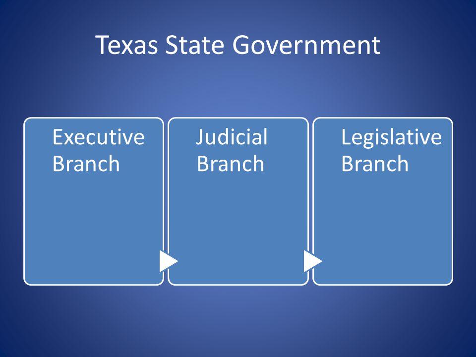 Texas State Government Executive Branch Judicial Branch Legislative Branch