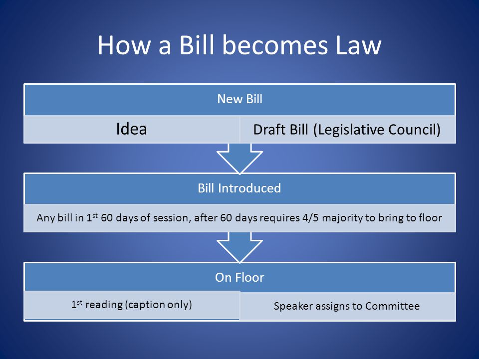 How a Bill becomes Law On Floor 1 st reading (caption only) Speaker assigns to Committee Bill Introduced Any bill in 1 st 60 days of session, after 60 days requires 4/5 majority to bring to floor New Bill Idea Draft Bill (Legislative Council)