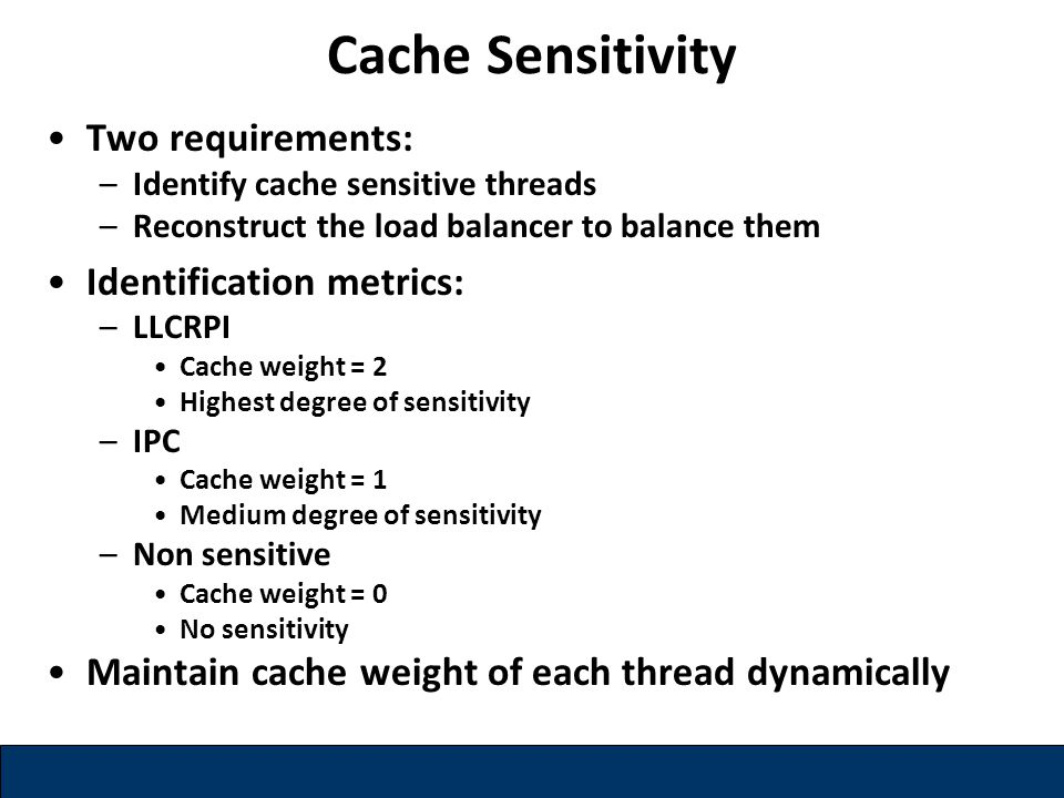 Two requirements: –Identify cache sensitive threads –Reconstruct the load balancer to balance them Identification metrics: –LLCRPI Cache weight = 2 Highest degree of sensitivity –IPC Cache weight = 1 Medium degree of sensitivity –Non sensitive Cache weight = 0 No sensitivity Maintain cache weight of each thread dynamically Cache Sensitivity