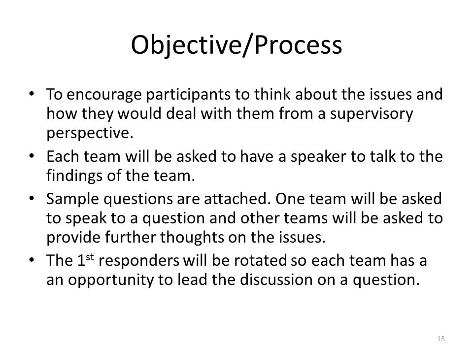 Objective/Process To encourage participants to think about the issues and how they would deal with them from a supervisory perspective.