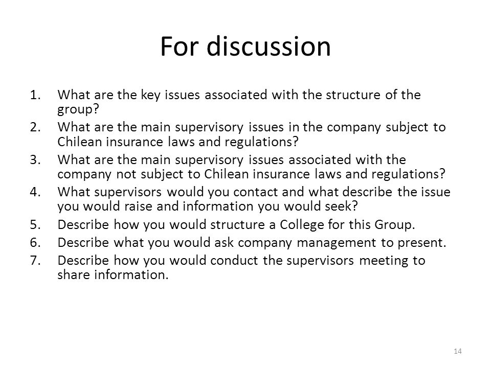 For discussion 1.What are the key issues associated with the structure of the group.