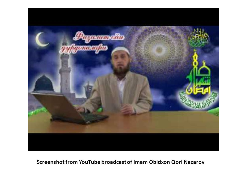 Screenshot from YouTube broadcast of Imam Obidxon Qori Nazarov