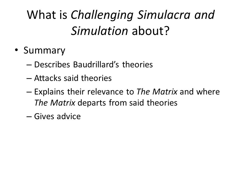 What is Challenging Simulacra and Simulation about.
