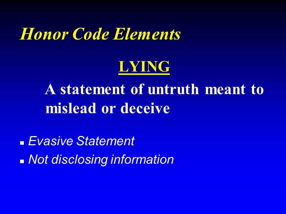 Honor Code Elements CHEATING Taking unfair advantage of another Classroom Plagiarism