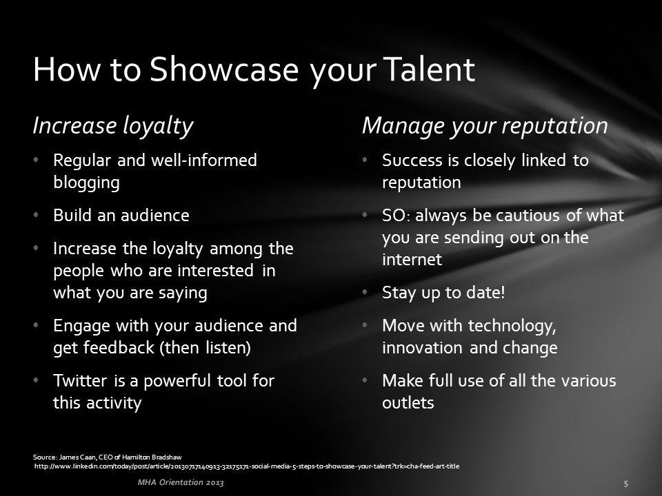 Increase loyaltyManage your reputation Success is closely linked to reputation SO: always be cautious of what you are sending out on the internet Stay up to date.
