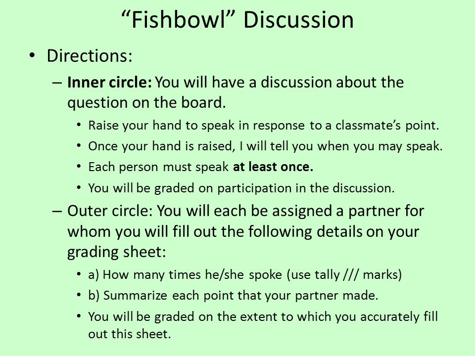"""Fishbowl"" Discussion Directions: – Inner circle: You will have a discussion about the question on the board. Raise your hand to speak in response to"