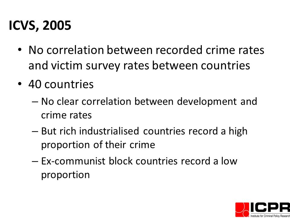 ICVS, 2005 No correlation between recorded crime rates and victim survey rates between countries 40 countries – No clear correlation between development and crime rates – But rich industrialised countries record a high proportion of their crime – Ex-communist block countries record a low proportion