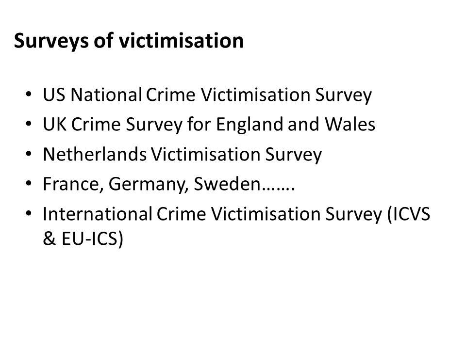 Surveys of victimisation US National Crime Victimisation Survey UK Crime Survey for England and Wales Netherlands Victimisation Survey France, Germany, Sweden…….