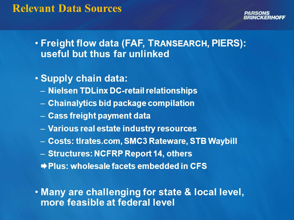Relevant Data Sources Freight flow data (FAF, T RANSEARCH, PIERS): useful but thus far unlinked Supply chain data: – Nielsen TDLinx DC-retail relationships – Chainalytics bid package compilation – Cass freight payment data – Various real estate industry resources – Costs: tlrates.com, SMC3 Rateware, STB Waybill – Structures: NCFRP Report 14, others  Plus: wholesale facets embedded in CFS Many are challenging for state & local level, more feasible at federal level