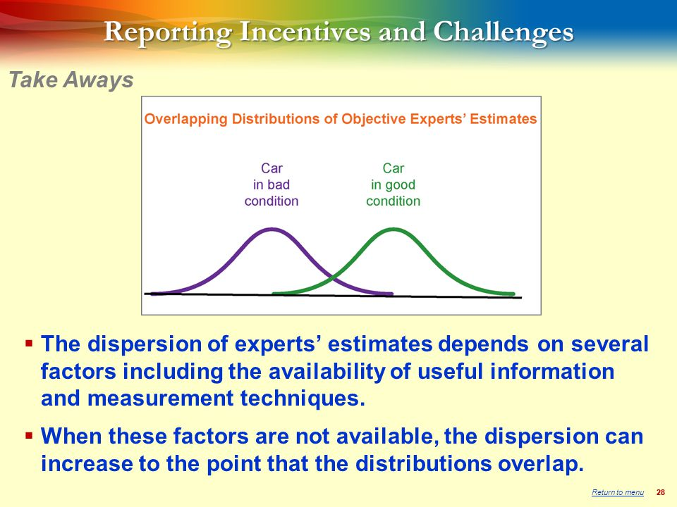 28 Reporting Incentives and Challenges  The dispersion of experts' estimates depends on several factors including the availability of useful information and measurement techniques.