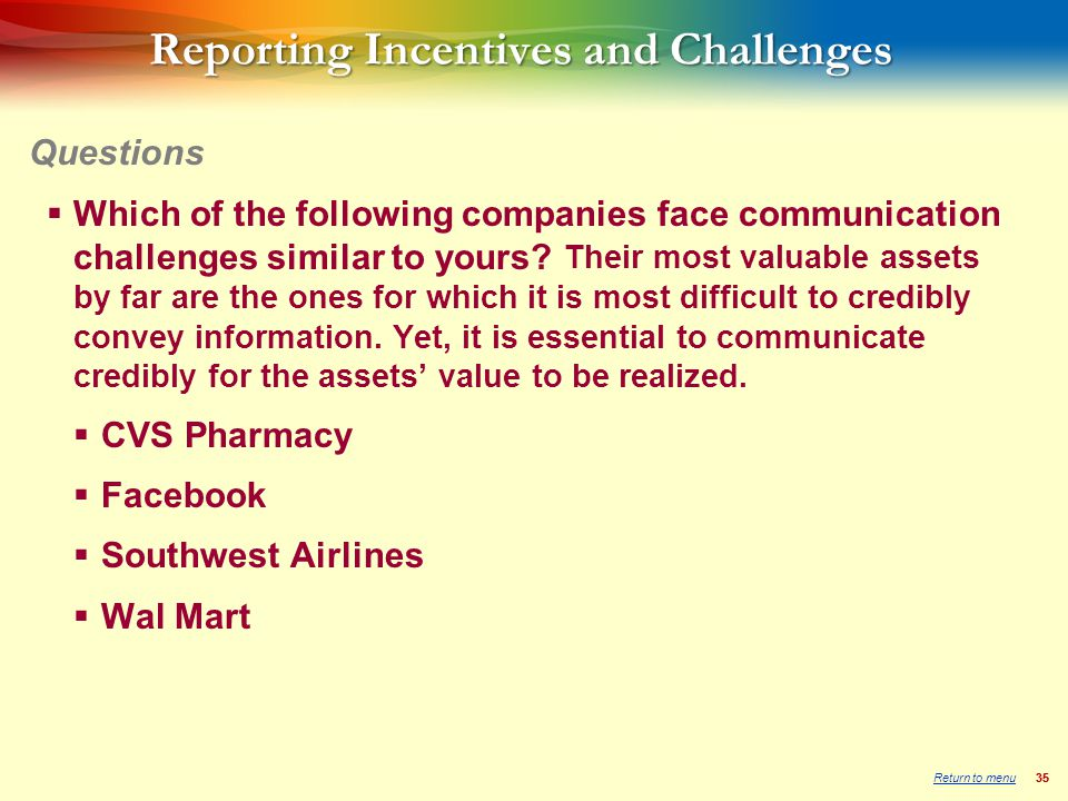 35 Reporting Incentives and Challenges  Which of the following companies face communication challenges similar to yours.