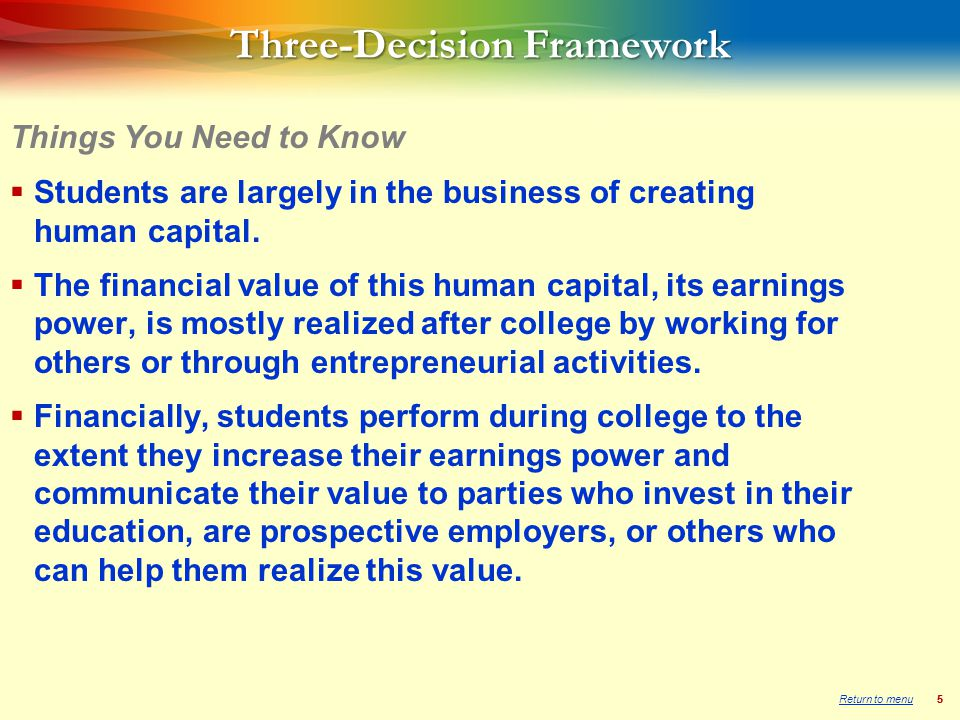 55 Three-Decision Framework  Students are largely in the business of creating human capital.