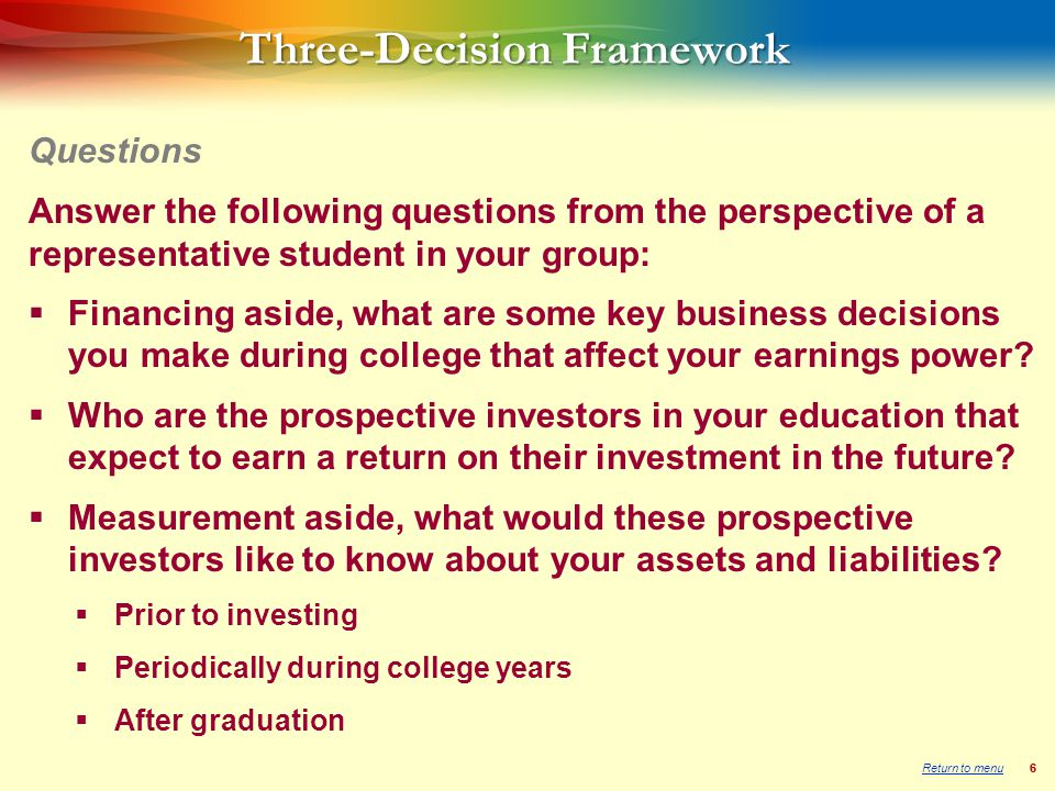 66 Three-Decision Framework Answer the following questions from the perspective of a representative student in your group:  Financing aside, what are some key business decisions you make during college that affect your earnings power.