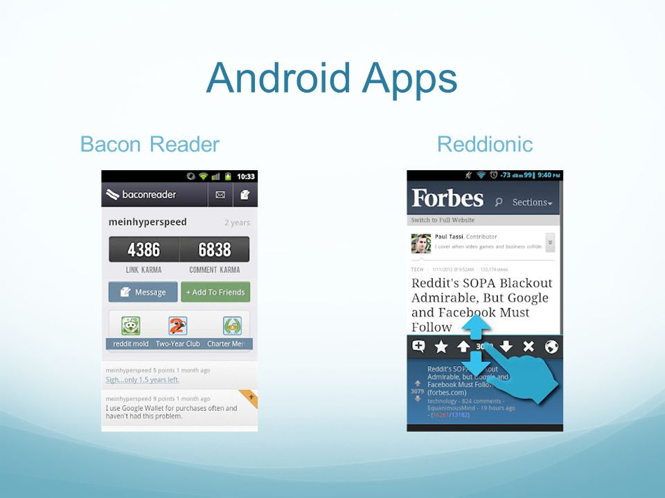 Android Apps Bacon ReaderReddionic