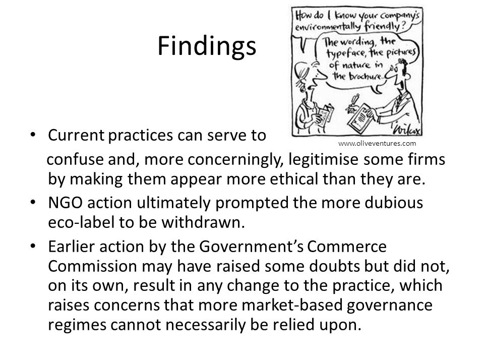 Findings Current practices can serve to confuse and, more concerningly, legitimise some firms by making them appear more ethical than they are.