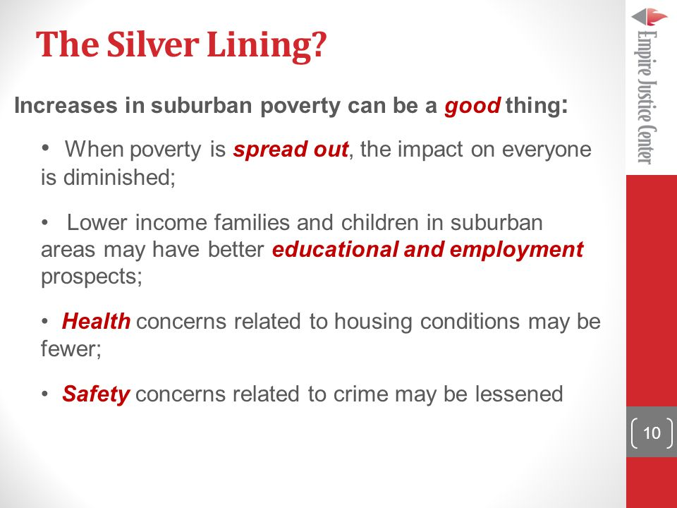 The Silver Lining? Increases in suburban poverty can be a good thing : When poverty is spread out, the impact on everyone is diminished; Lower income