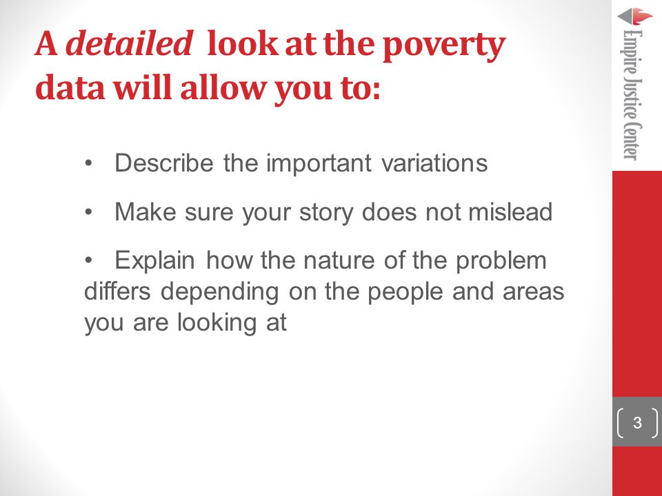 A detailed look at the poverty data will allow you to: Describe the important variations Make sure your story does not mislead Explain how the nature of the problem differs depending on the people and areas you are looking at 3
