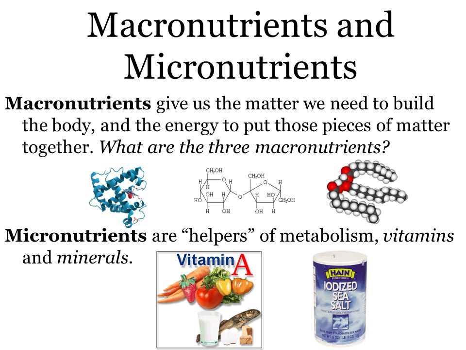 Macronutrients and Micronutrients Macronutrients give us the matter we need to build the body, and the energy to put those pieces of matter together.