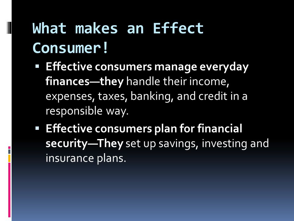 What makes an Effect Consumer.