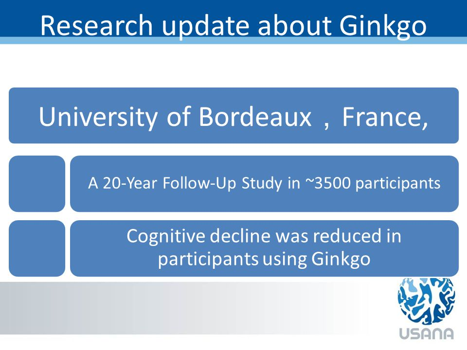 Research update about Ginkgo University of Bordeaux , France, A 20-Year Follow-Up Study in ~3500 participants Cognitive decline was reduced in participants using Ginkgo