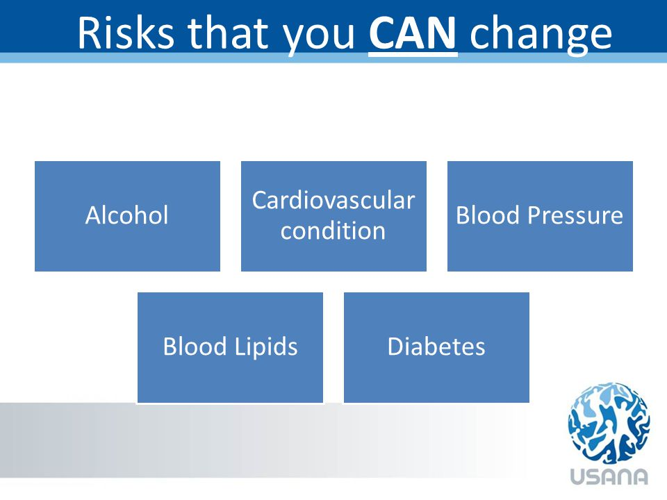 Risks that you CAN change Alcohol Cardiovascular condition Blood Pressure Blood LipidsDiabetes