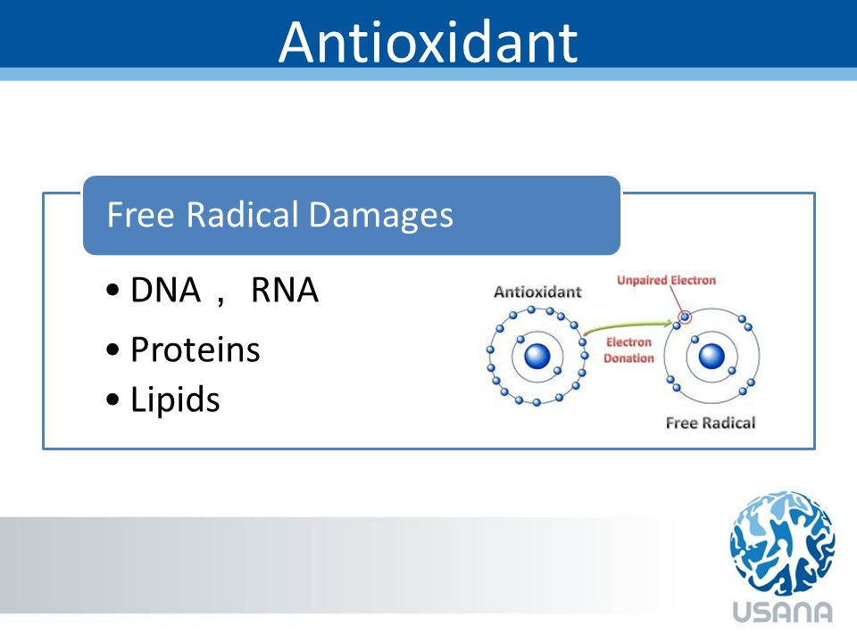 Antioxidant DNA , RNA Proteins Lipids Free Radical Damages