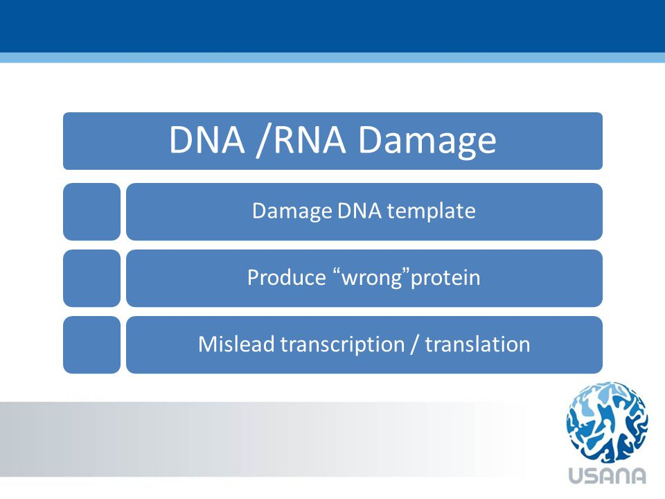 DNA /RNA Damage Damage DNA templateProduce wrong proteinMislead transcription / translation
