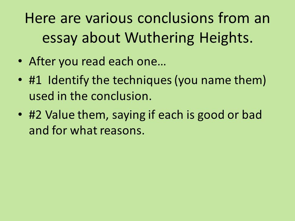 conclusions summary or something more here are various  here are various conclusions from an essay about wuthering heights