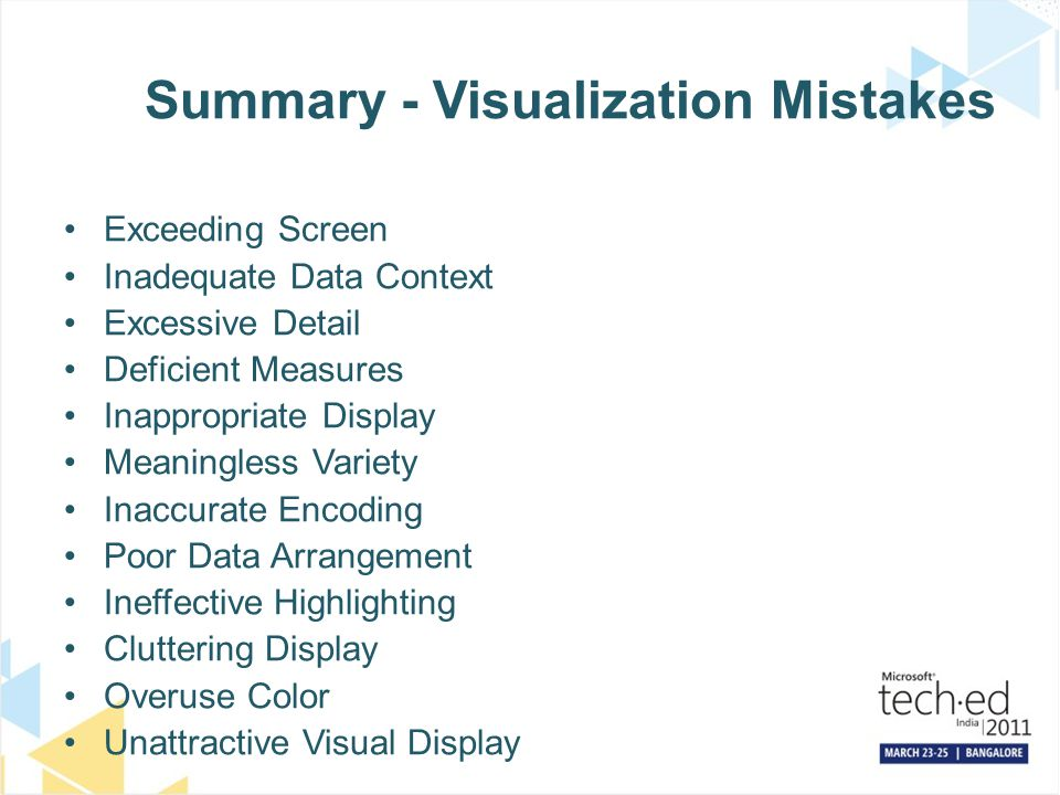 Summary - Visualization Mistakes Exceeding Screen Inadequate Data Context Excessive Detail Deficient Measures Inappropriate Display Meaningless Variet