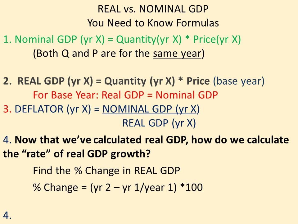 REAL vs. NOMINAL GDP You Need to Know Formulas 1.