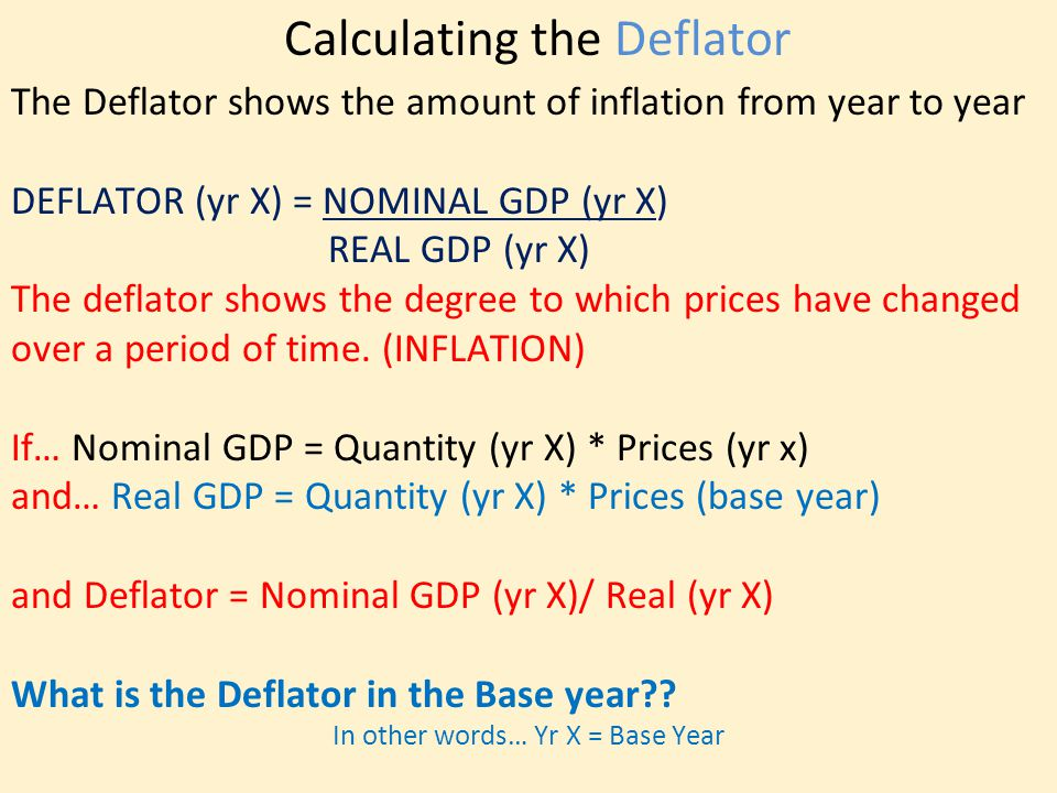 Calculating the Deflator The Deflator shows the amount of inflation from year to year DEFLATOR (yr X) = NOMINAL GDP (yr X) REAL GDP (yr X) The deflator shows the degree to which prices have changed over a period of time.