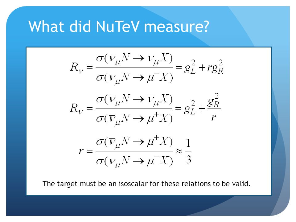 What did NuTeV measure The target must be an isoscalar for these relations to be valid.