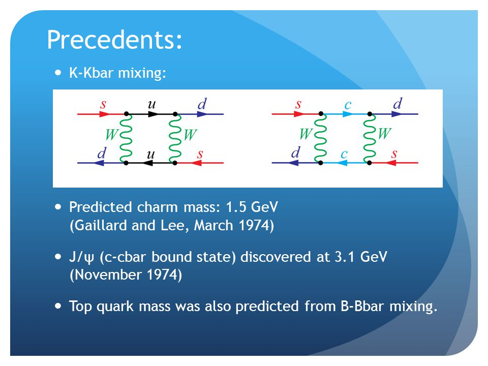 Precedents: Predicted charm mass: 1.5 GeV (Gaillard and Lee, March 1974) J/ψ (c-cbar bound state) discovered at 3.1 GeV (November 1974) Top quark mass was also predicted from B-Bbar mixing.