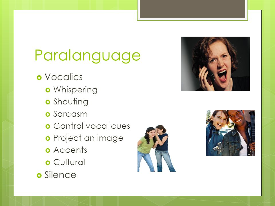Paralanguage  Vocalics  Whispering  Shouting  Sarcasm  Control vocal cues  Project an image  Accents  Cultural  Silence