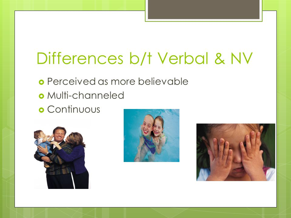 Differences b/t Verbal & NV  Perceived as more believable  Multi-channeled  Continuous