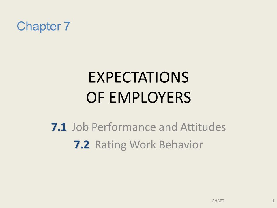 CHAPT1 EXPECTATIONS OF EMPLOYERS 7.1 7.1Job Performance and Attitudes 7.2 7.2Rating Work Behavior Chapter 7