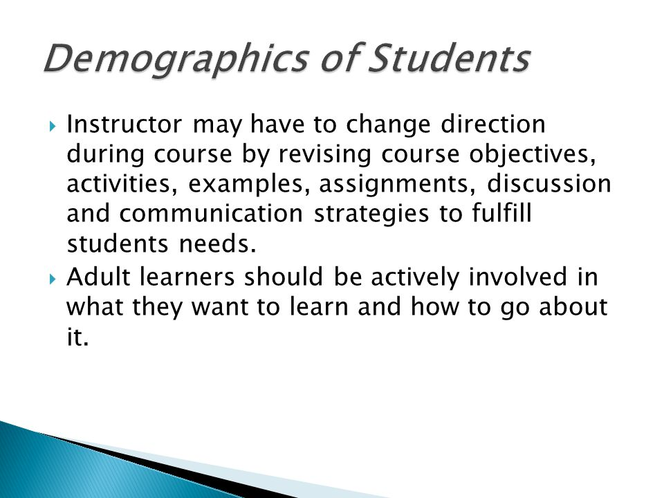  Instructor may have to change direction during course by revising course objectives, activities, examples, assignments, discussion and communication strategies to fulfill students needs.
