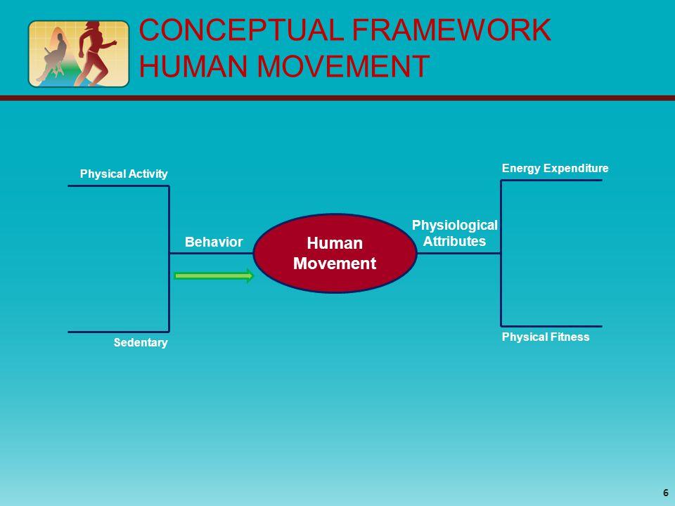 CONCEPTUAL FRAMEWORK HUMAN MOVEMENT Energy Expenditure Behavior Physical Activity Sedentary Human Movement Physiological Attributes Physical Fitness 6