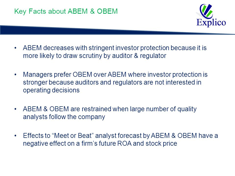 Measures of ABEM (i) ABEM 1 = Where S.D.(OI) = Standard deviation of operating Income S.D.