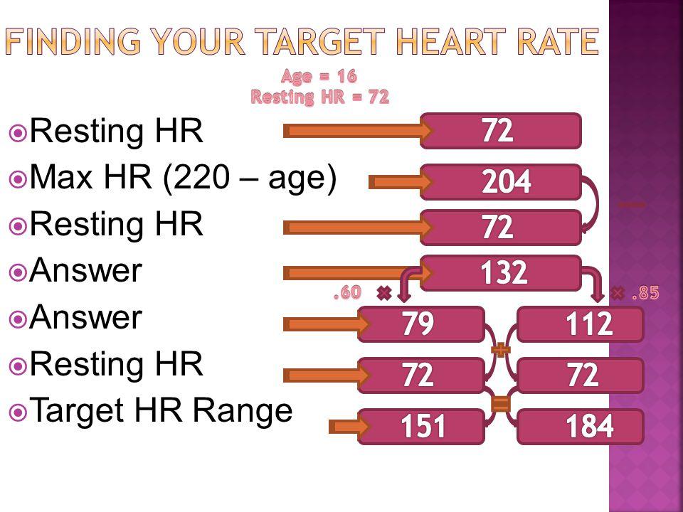  Resting HR  Max HR (220 – age)  Resting HR  Answer  Resting HR  Target HR Range