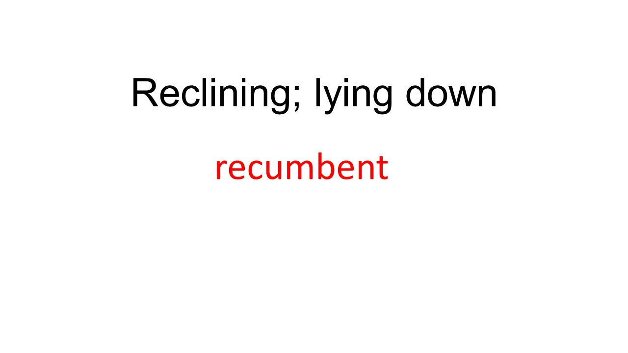 Reclining; lying down recumbent