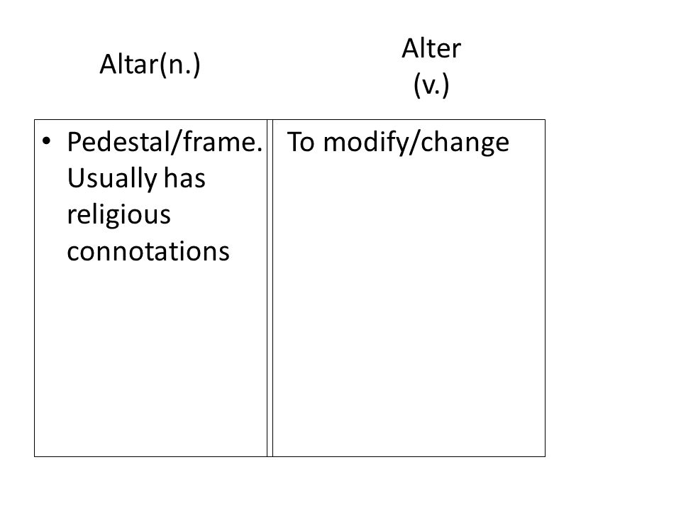 Altar(n.) Pedestal/frame. Usually has religious connotations To modify/change Alter (v.)